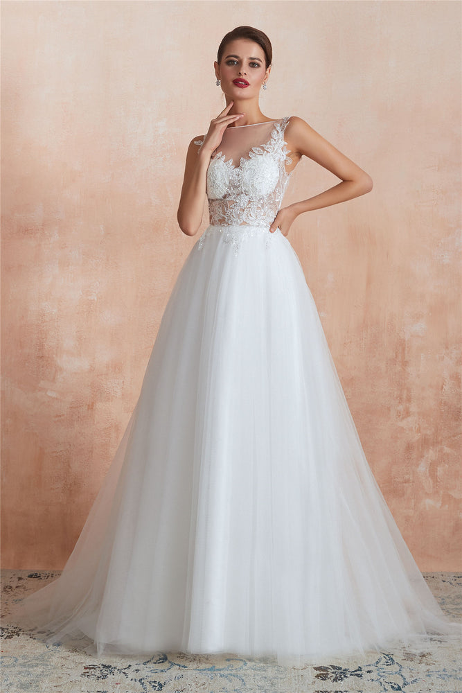 Princess Long A-line Sheer Back Floral White Wedding Dress with Sequins