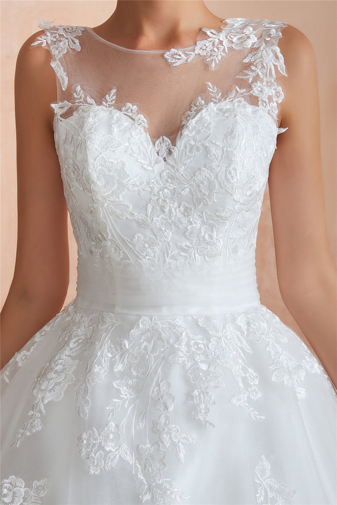 Princess Long Ball Gown A-line White Wedding Dress with Lace