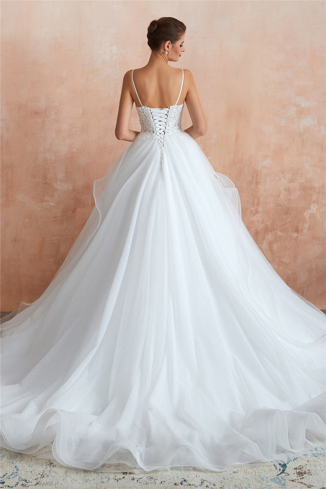 Long Lace-Up Back A-line Straps White Wedding Dress with Lace