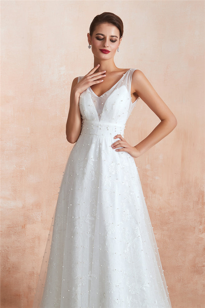Long A-Line Floral Appliqued White Bridal Dress with Crystals