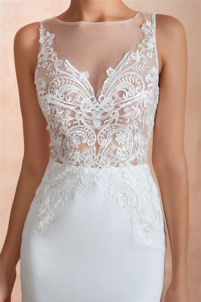 Sexy Long Mermaid See-Through White Wedding Dress with Lace Top