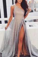 Gorgeous One Shoulder Silver Long Prom Dress with Slit