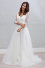 Princess Long Sleeves A-line V-Neck White Wedding Dress with Lace