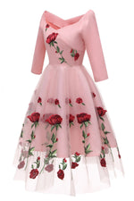Square Neck Floral Short Pink Party Dress with Embroidery