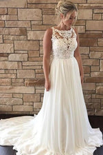 A-Line Boat Neck Court Train Ivory Wedding Dress