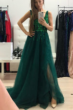 Luxurious V Neck Green Long Formal Dress with Slit