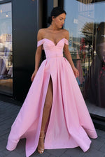 Side Slit Off the Shoulder Pink Long Prom Dress with Belt