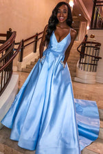 Beaded Light Sky Blue Long Prom Dress with Pockets