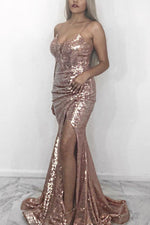 Sexy Straps Rose Gold Sequined Long Evening Dress with Slit