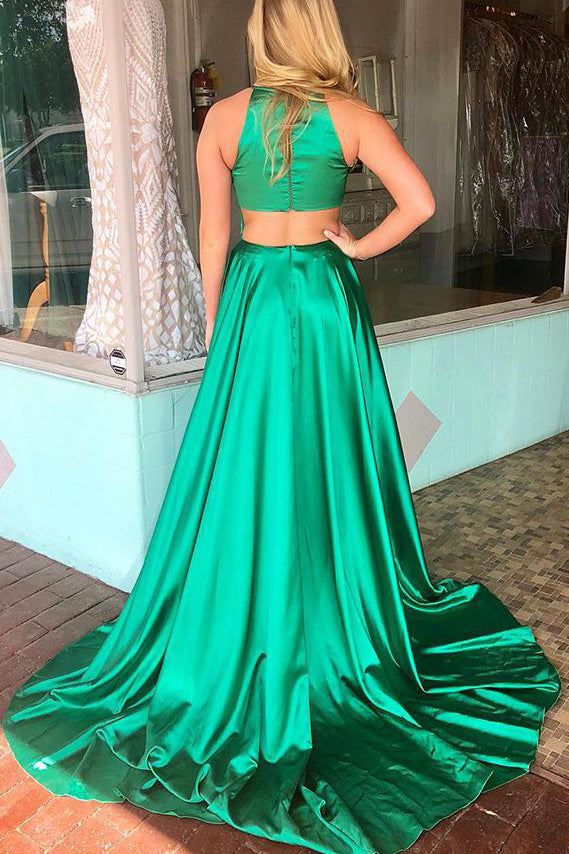 Simple Jewel Green Satin Long Prom Dress with Slit