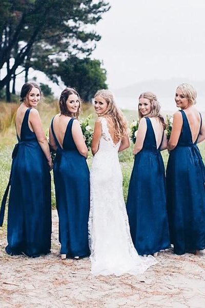 Royal Blue V Neck Floor Length Bridesmaid Dress