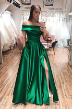 Off Shoulder Emerald Green Long Prom Dress with Side Slit