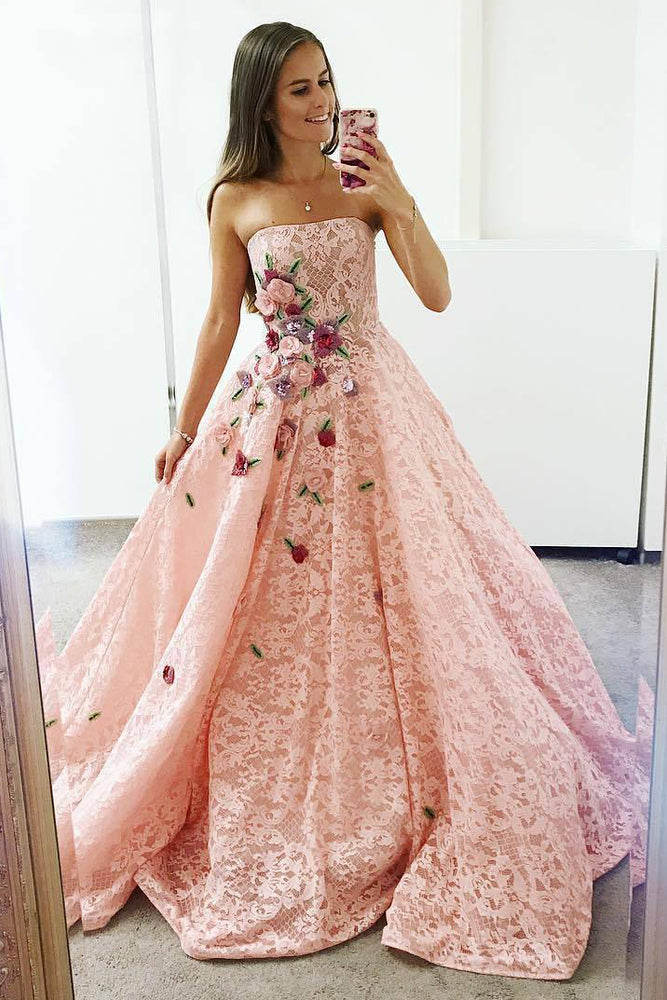 Strapless Pink Lace Long Ball Gown with Floral Embroidery