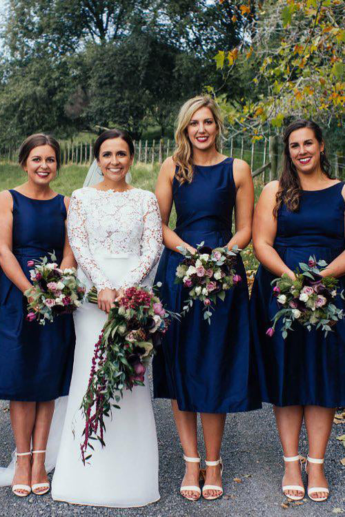 Navy Blue Tea Length Bridesmaid Hoco Dress