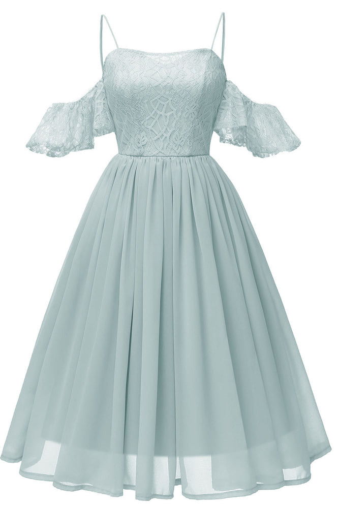 Off the Shoulder Lace Over Chiffon Sage Green Party Dress