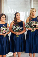 Navy Blue Tea Length Bridesmaid Dress