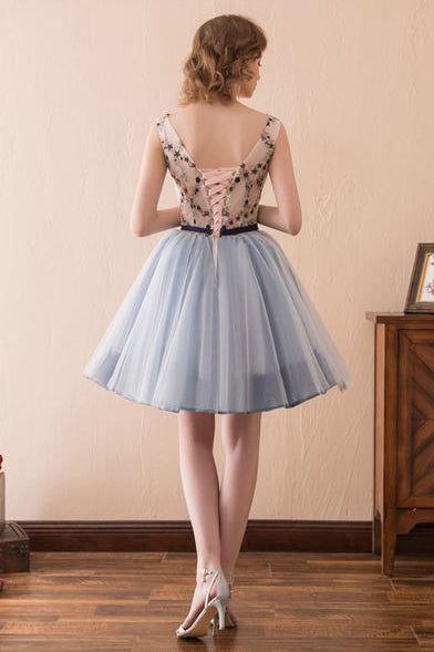 Blue Short Homecoming Dress Party Dress