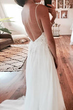 Long Spaghetti Strap A-line V-Neck White Wedding Dress with Lace