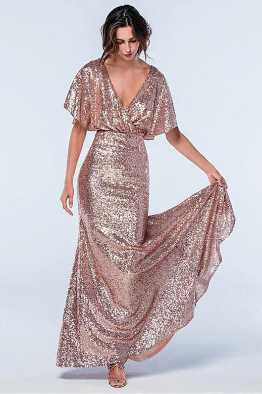 Rose Gold Sequins Long Bridesmaid Dress with Sleeves