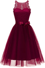 Jewel Neck Tiered Burgundy Short Party Dress with Ribbon
