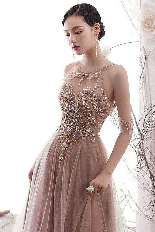 Gorgeous Cold Sleeves Beaded Pink Prom Dress