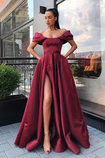 Off the Shoulder Burgundy Side Slit Prom Dress with Ribbon