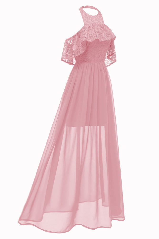 Halter Pink Long Party Dress with Open Back