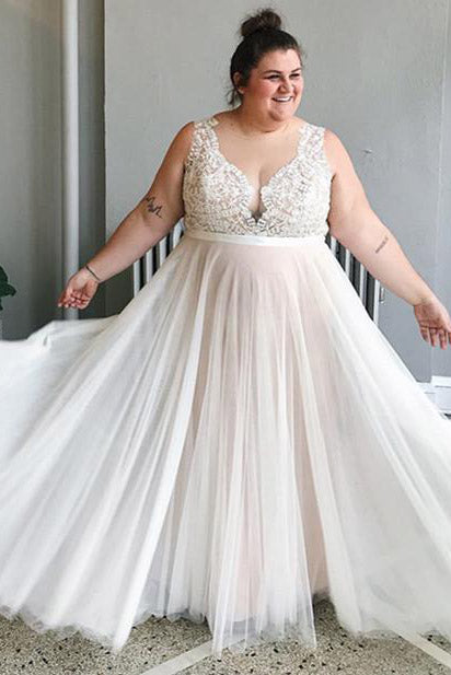 Plus Size Illusion Neck Sweep Wedding Dress with Lace Top
