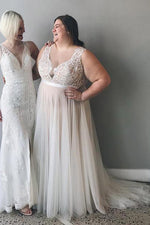Plus Size Illusion Neck A-line Ivory Wedding Dress with Lace Top