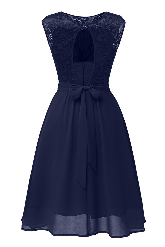 Jewel Patchwork Navy Blue Short Party Dress
