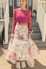 Gorgeous Two Piece Floral Prom Dress with Long Sleeves