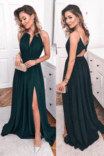 Hollow Out Dark Green Long Evening Dress with Slit