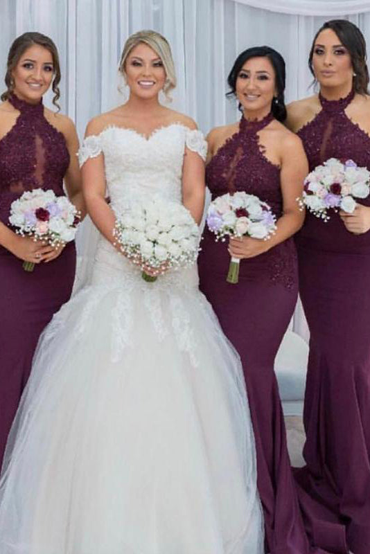 Mermaid High Neck Grape Long Bridesmaid Dress with Appliques