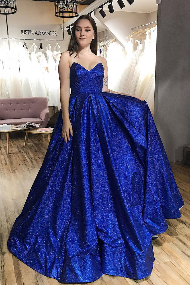 Sparkly Sweetheart Royal Blue Long Prom Dress
