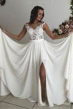 Sheath Long A-line V-Neck White Wedding Dress with Slit