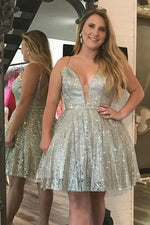 Sparkling Illusion V Silver Homecoming Dress with Beading