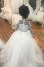 Long Sleeves Hi-Low White Flower Girl Dress with Crystals