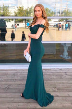 Off the Shoulder Mermaid Hunter Green Formal Dress