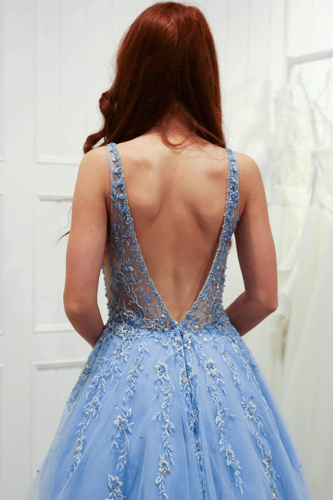 Elegant Ball Gown Illusion V Neck Sky Blue Long Prom Dress