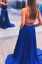 Simple Royal Blue Prom Dress with Criss Cross Back