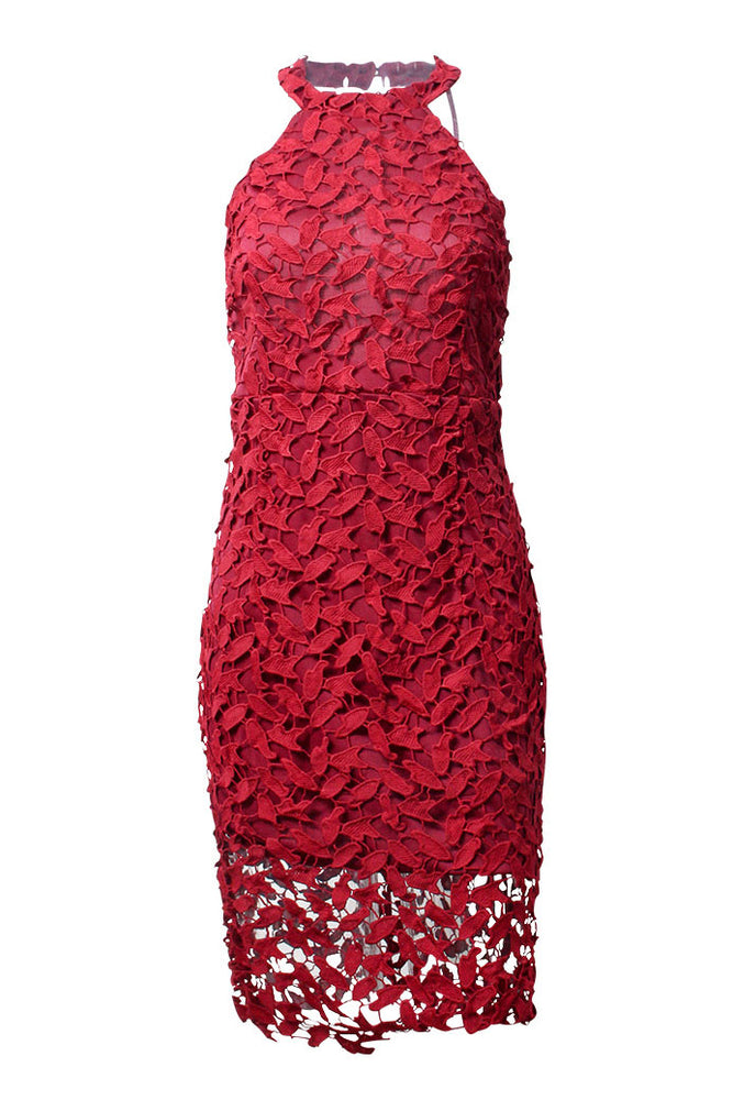 Halter Backless Sheath Burgundy Party Dress