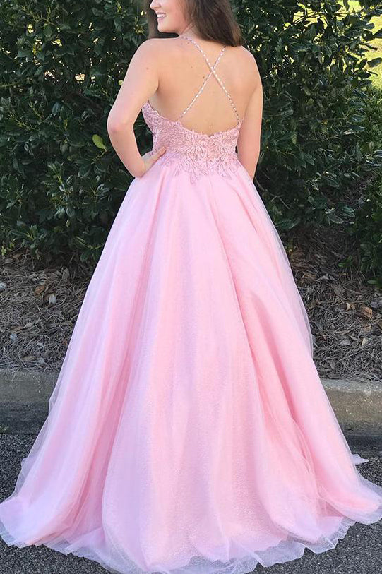Spaghetti Straps Appliques Pink Long Prom Dress