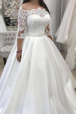 Long Off Shoulder Half Sleeves A-line White Bridal Gown