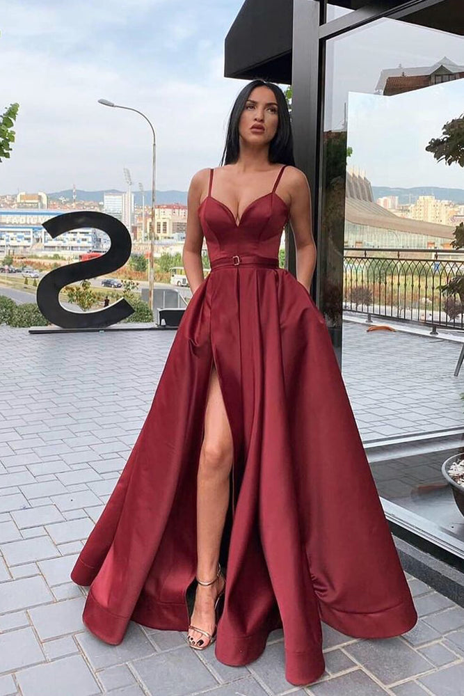 Straps A-Line Maroon Long Prom Dress with Slit