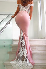 Off the Shoulder Pink Mermaid Evening Dress White Lace Appliques