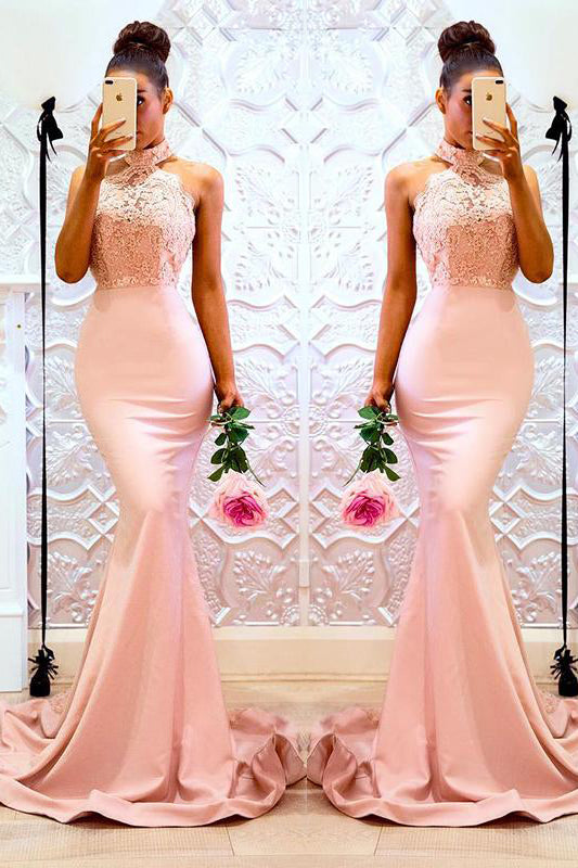 Mermaid High Neck Appliques Long Pink Bridesmaid Dress