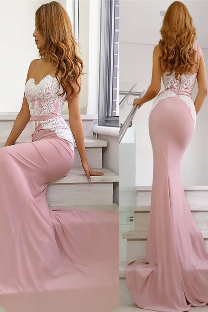Spaghetti Straps Mermaid Pink Long Evening Dress with Straps