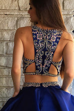 Hollow Out Two Piece Beading Royal Blue Homecoming Dress