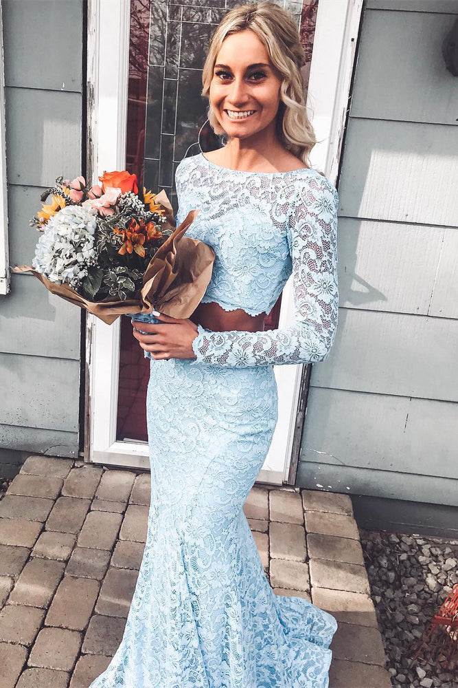 Two Piece Mermaid Lace Sky Blue Prom Dress with Long Sleeves