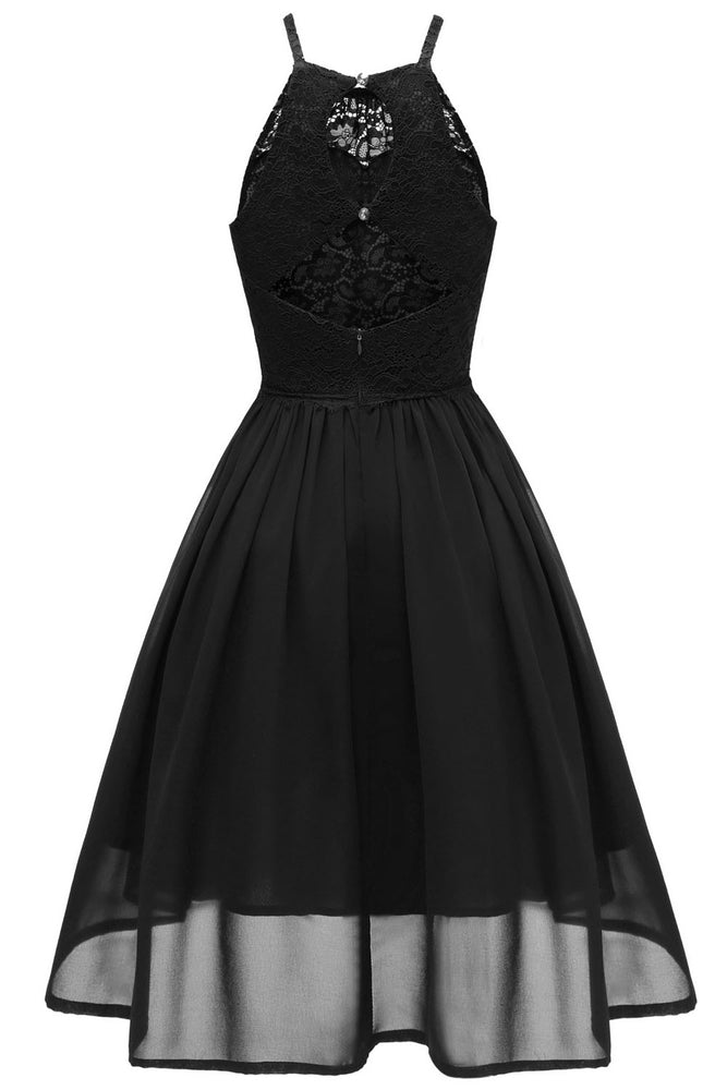 Spaghetti Straps Short Chiffon Black Party Dress